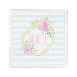 モノグラムのファンシーなピンクのバラのブルーベリーの正方形の皿 アクリルトレー