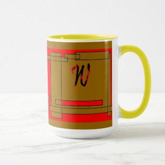 モノグラムのブラウンの赤いコーヒー・マグ マグカップ
