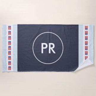 モノグラムのプエルトリコの名前入りな旗 ビーチタオル