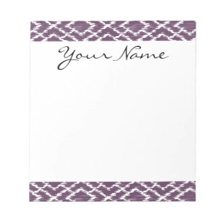 モノグラムのプラム紫色の種族のイカットのダイヤモンドパターン ノートパッド