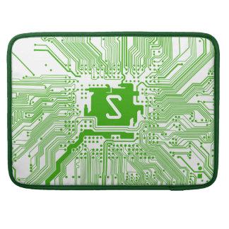 モノグラムのマザーボードコンピュータ回路の緑の白 MacBook PROスリーブ