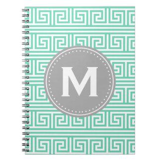 モノグラムのモダンで真新しいギリシャの主パターン ノートブック