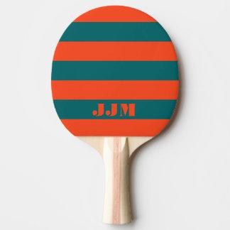 モノグラムのモダンなオレンジ珊瑚、水の青い縞 卓球ラケット