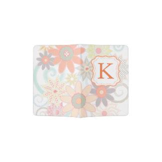 モノグラムのモダンなパステル調の花 パスポートカバー