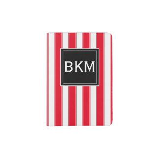 モノグラムのモダンは黒いおよび赤で縞で飾ります パスポートカバー