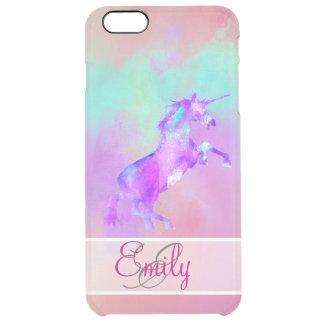 モノグラムのユニコーンのかわいいピンクのティール(緑がかった色)の紫色の水彩画 クリア iPhone 6 PLUSケース