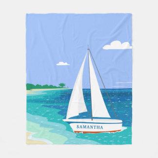 モノグラムのヨットの沿岸熱帯フリースブランケット フリースブランケット