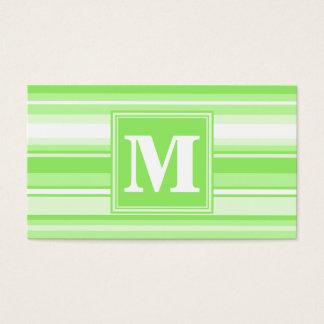 モノグラムのライムグリーンのストライブ柄 名刺