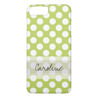 モノグラムのライムグリーンの白く粋な水玉模様パターン iPhone 8 PLUS/7 PLUSケース