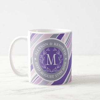 モノグラムのリースのトレンディーのストライプの紫色の葉の月桂樹 コーヒーマグカップ