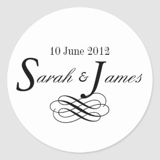 モノグラムのロゴは日付の結婚式用シールを名前を挙げます ラウンドシール