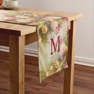 モノグラムのヴィンテージのビクトリアンなバラの花束の花 ショートテーブルランナー