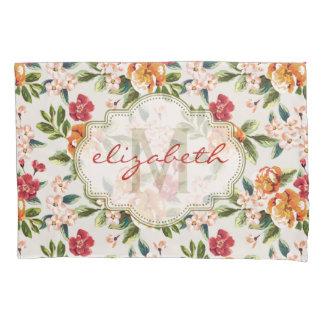 モノグラムのヴィンテージのビクトリアンな水彩画の花柄 枕カバー