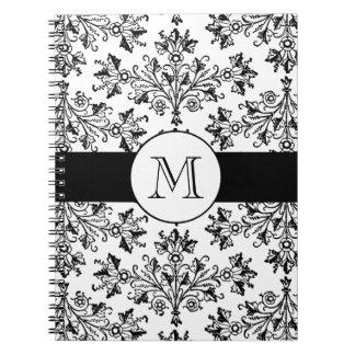 モノグラムのヴィンテージの花のダマスク織パターンノート ノートブック