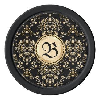 モノグラムの上品でエレガントな金ゴールドのダマスク織の中世黒 ポーカーチップ