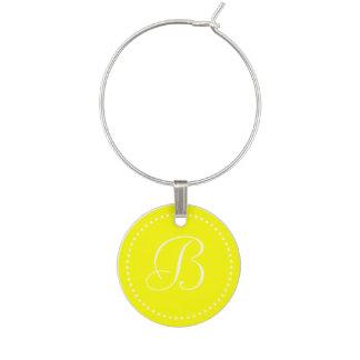 モノグラムの円形の黄色く白い点のボーダー ワインチャーム