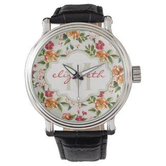 モノグラムの名前のガーリーでシックな花パターン 腕時計