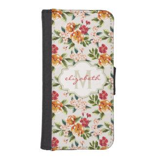 モノグラムの名前のガーリーでシックな花パターン iPhoneSE/5/5sウォレットケース