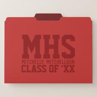 モノグラムの学校代表の赤 ファイルフォルダー