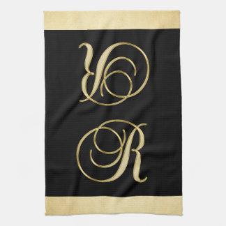 モノグラムの手紙のイニシャルRの金ゴールドの黒色の台所 キッチンタオル