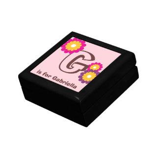 モノグラムの手紙のピンクの紫色のモダンな花の装身具箱 ギフトボックス