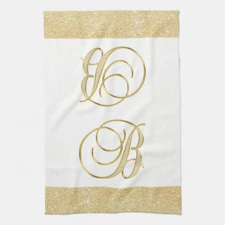 モノグラムの手紙Bの金ゴールドのグリッター白い色の台所 キッチンタオル