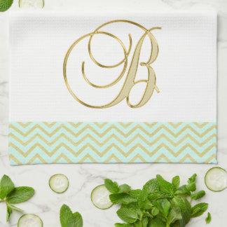 モノグラムの手紙Bの金ゴールドのミントのシェブロンの美しい台所 キッチンタオル
