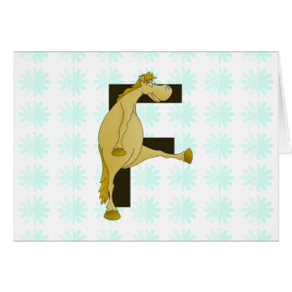モノグラムの手紙Fの子馬 カード
