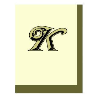 モノグラムの手紙K ポストカード