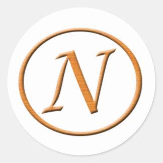 モノグラムの手紙Nの木製の一見 ラウンドシール