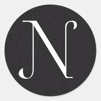 モノグラムの手紙N ラウンドシール