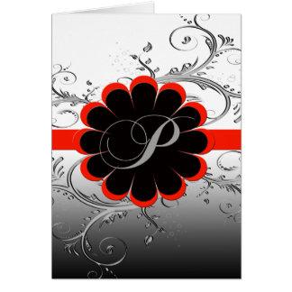 モノグラムの手紙Pの赤 カード