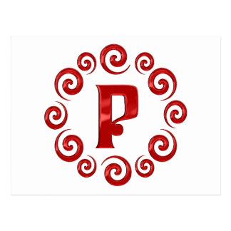 モノグラムの手紙Pの赤 ポストカード