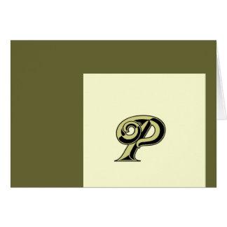 モノグラムの手紙P カード