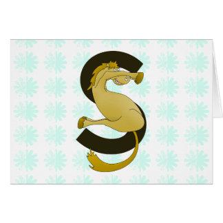 モノグラムの手紙Sの子馬の動揺してな花模様 カード