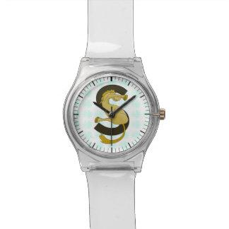 モノグラムの手紙Sの子馬の動揺してな花模様 腕時計