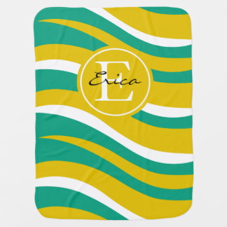 モノグラムの抽象的なトラのアニマルプリント|のティール(緑がかった色)の金ゴールド ベビー ブランケット