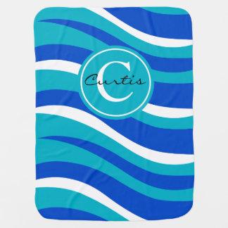 モノグラムの抽象的なトラのアニマルプリント|の青い水 ベビー ブランケット