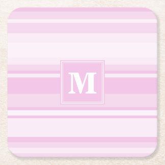 モノグラムの明るいピンクは縞で飾ります スクエアペーパーコースター