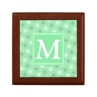 モノグラムの春の緑はパターンを一周します ギフトボックス
