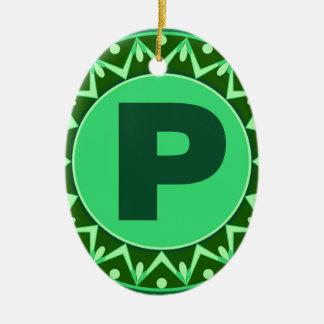モノグラムの最初の一流の緑の手紙のアルファベットp セラミックオーナメント