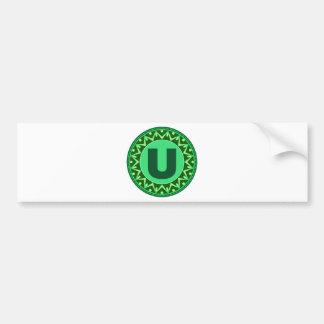モノグラムの最初の一流の緑の手紙のアルファベットu バンパーステッカー