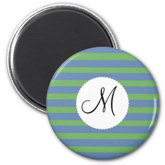 モノグラムの最初の緑のタマキビの縞模様 マグネット