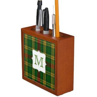 モノグラムの机のオルガナイザーが付いているマクミラン一族の格子縞 ペンスタンド