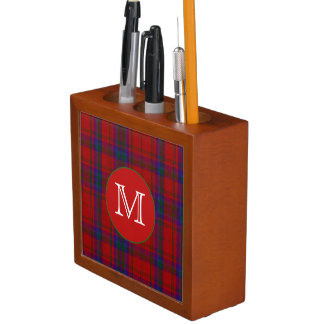 モノグラムの机のオルガナイザーが付いているMacDougallの一族の格子縞 ペンスタンド