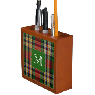 モノグラムの机のオルガナイザーが付いているMacGillの一族の格子縞 ペンスタンド