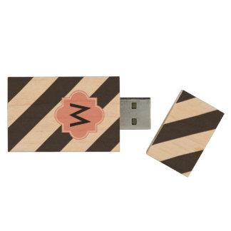 モノグラムの柄USBのフラッシュドライブ ウッドUSBフラッシュドライブ