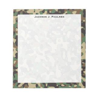 モノグラムの森林タンブラウンの緑の灰色のカムフラージュ ノートパッド
