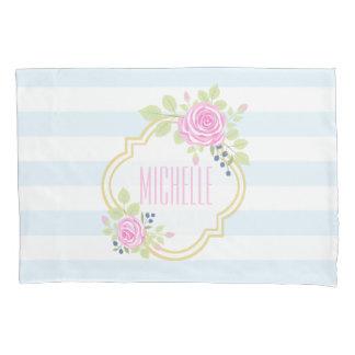 モノグラムの標準ファンシーなピンクのバラの枕カバー 枕カバー