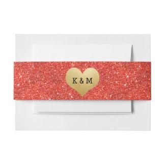モノグラムの模造ので赤いグリッターの金ゴールドホイルのハートの結婚 招待状ベリーバンド
